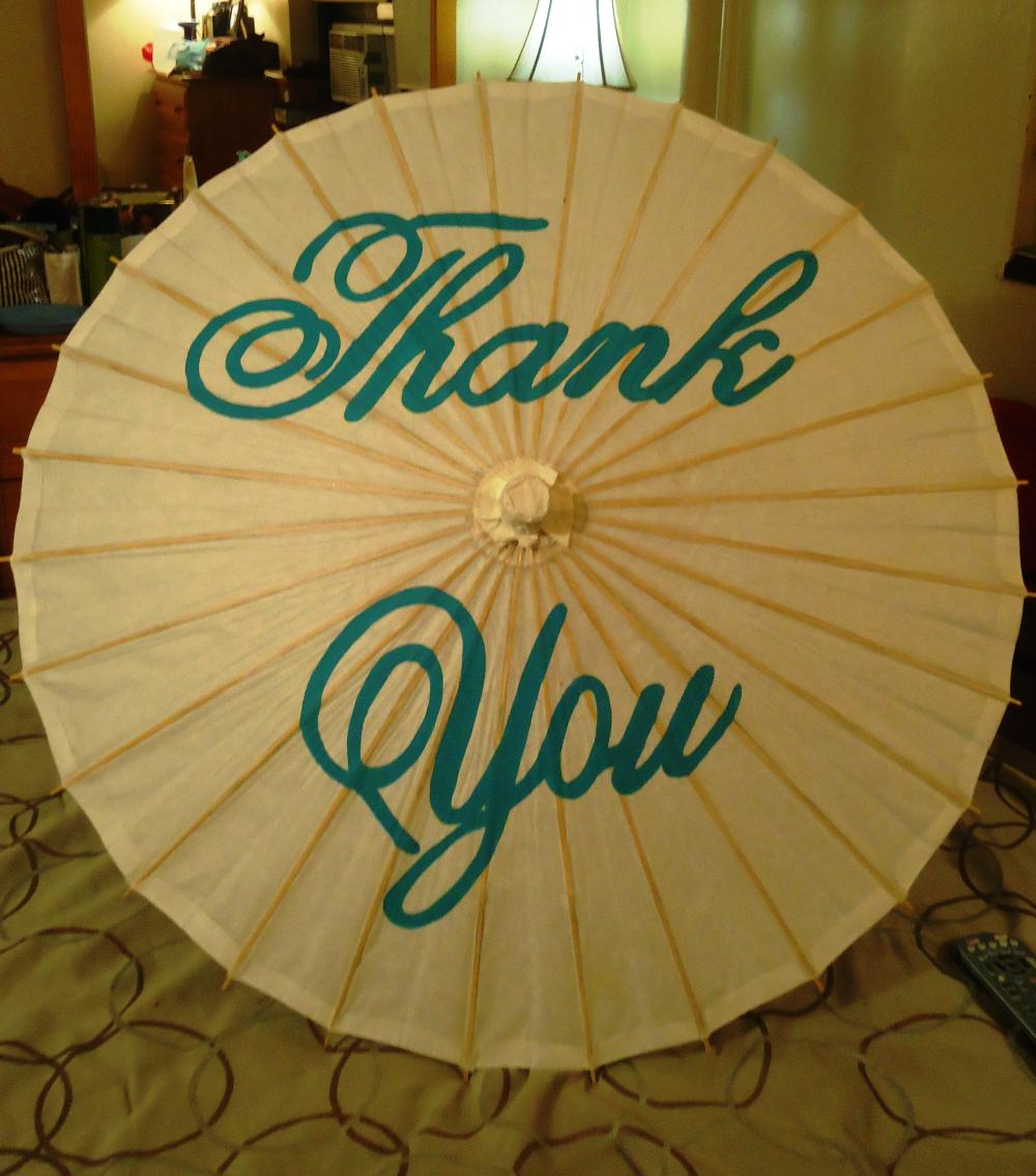 Hand-Painted Thank You Parasol
