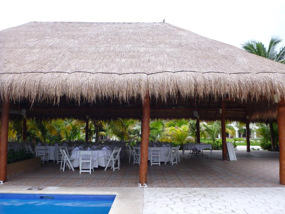 Tucanes Bar being set up for a reception. This spot was lovely. You could have lights set up along the pool and it's covered, so no matter what the weather you would be good. Bathroom just across a walkway. I would think this area would work for about 3