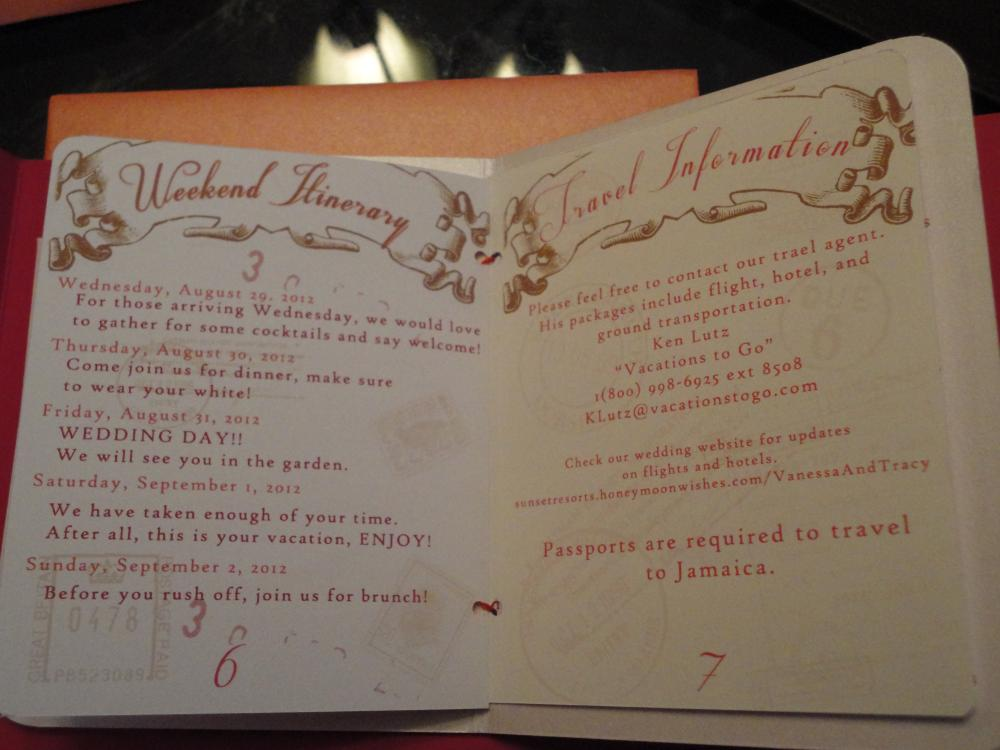 Pages 6 and 7 of passport invitation
