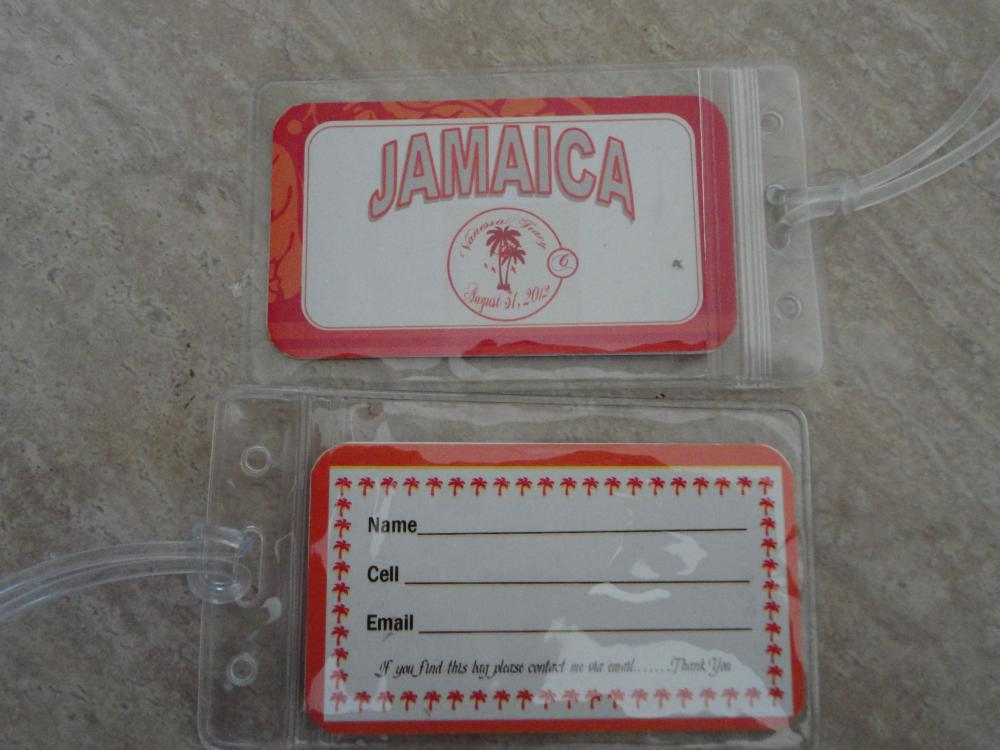 Front and back of luggage tags