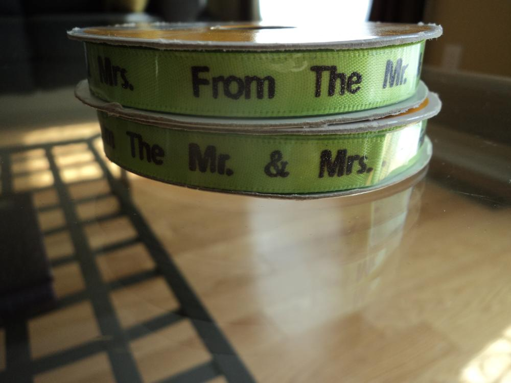 From the Mr and Mrs. Ribbon Quantity 2 Price $1.00 each