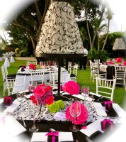 Centerpiece with lamp! Guests loved this wedding!