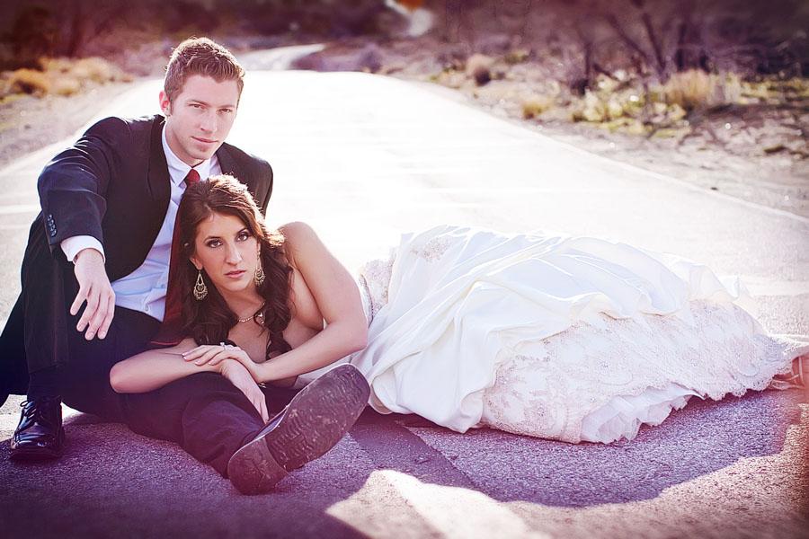 "Gavin and Erin strike the ""supermodel"" pose in a relatively deserted rode outside of Vegas."