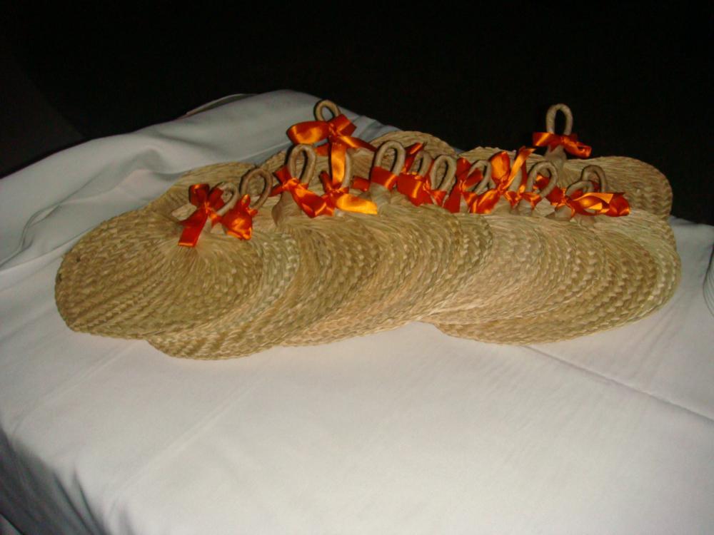 Fans with orange ribbon