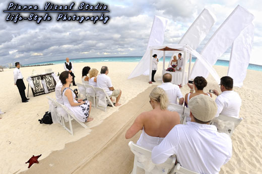 Beach wedding at Royal Cancun, Mexico.