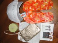 BM Gifts: Flip flop, earrings, cap, travel candle, wristlet, and toe ring