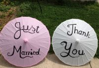 Pink and White Just Married Paper Parasol