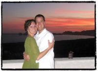 front of our greeting card invite - pic from when we got engaged at Puerta Vieja