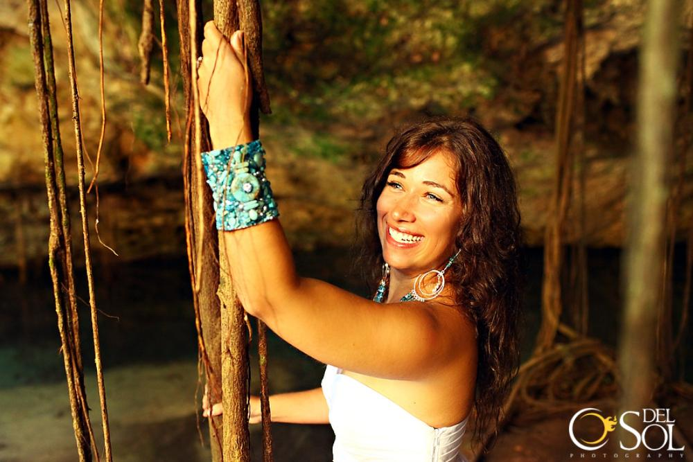 An ode to the mermaids! Hanging on to the incredible roots of the cenote!