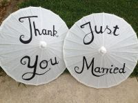Purple, White, Pink Just Married and Thank you Parasols
