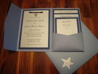 Blue & silver pocketfold invitations with starfish charm