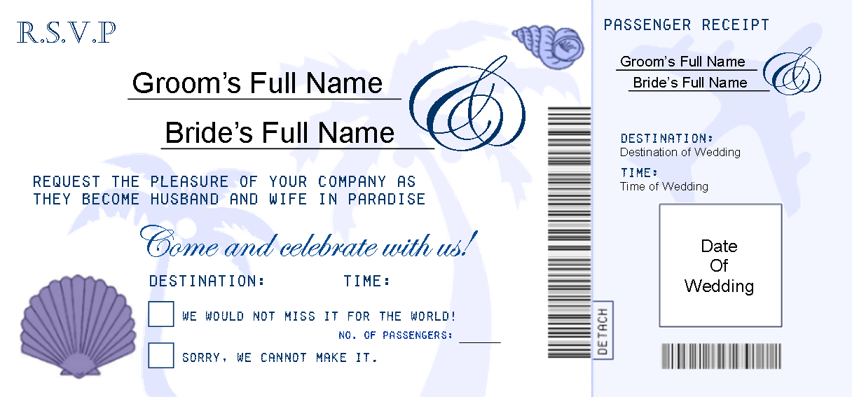 My RSVP Boarding Pass Design