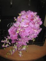 combination of phaleanopsis orchids and dendrobium orchids bouquet.