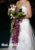 purple, green and white bouquet. A combination of dendrobium orchids and roses.