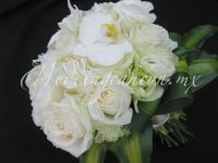 white bouquet. Combination of phaleanopsis orchids, lisianthus and roses