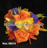 Colorful bouquet. Combination of roses, lilies, lisianthus and cymbidium orchids