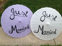 """Purple, Blue, Pink or White """"Just Married"""" or """"Thank you"""" Paper Parasols"""